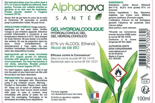 Gel hydroalcoolique : Alphanova se mobilise